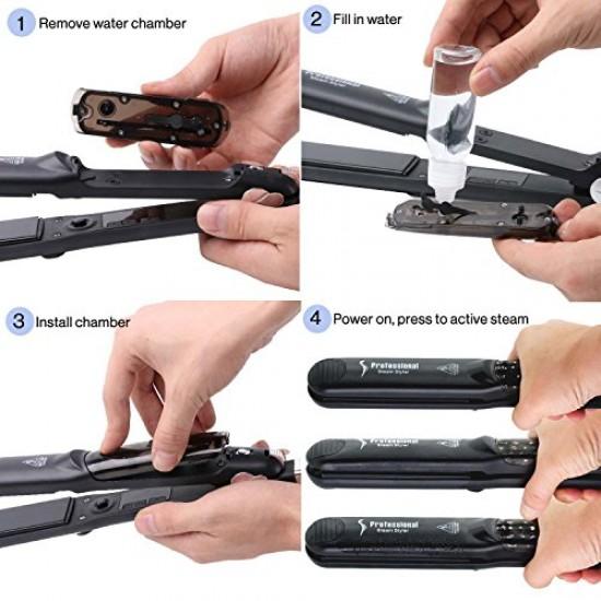 Steam Hair Straightener Flat Iron Professional Ceramic Tourmaline 2-in-1 Straightening Iron