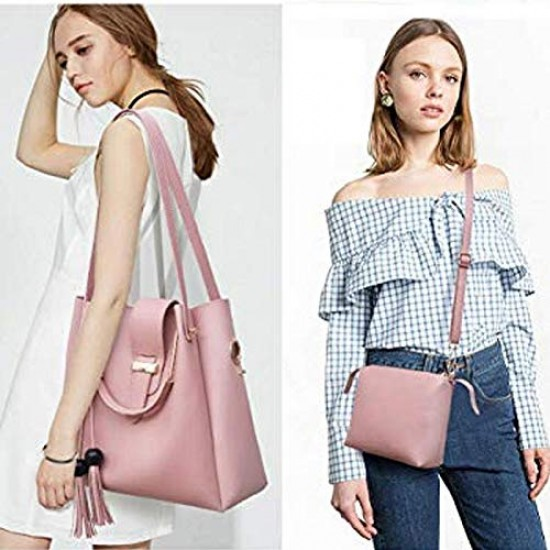 Stylish Pink Shoulder Bag For Women Simple Style Leather Crossbody Bag Chic Ladies HandBag