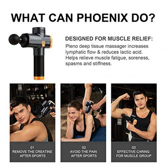 Phoenix A2 Muscle Massage Gun Deep Tissue Massager Therapy Gun Exercising Muscle Pain Relief Body Shaping (BLACK)