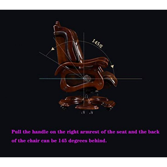 Boss Chair, Leather Computer Chair Home Executive Chair Business 145°Reclining Lifting Massage President Office Turn Chair