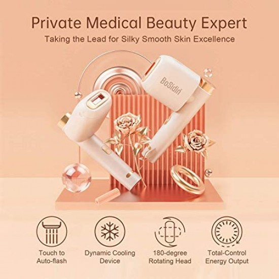 BoSidin Permanent Hair Removal Device, Painless Epilation for Women & Men - Body and Face(White)