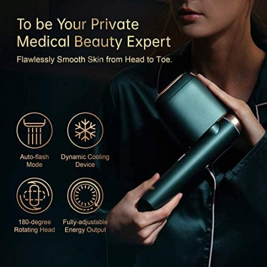 Bosidin Permanent Hair Removal Device, Painless Epilation for Women & Men - Body and Face(Green)