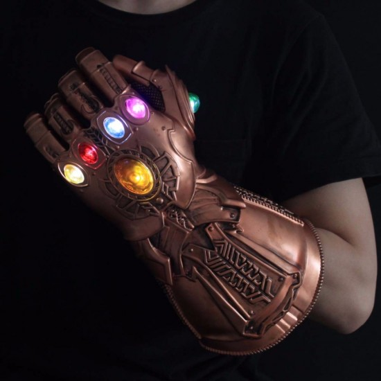 LED Light Thanos Infinity Gauntlet Avengers Infinity War Cosplay LED Gloves PVC Action Figure Model Toys Gift Halloween Props