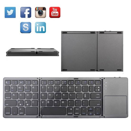 Folding Mini Keyboard Bluetooth Foldable Wireless Keypad with Touchpad for Windows,Android,ios Tablet ipad Phone